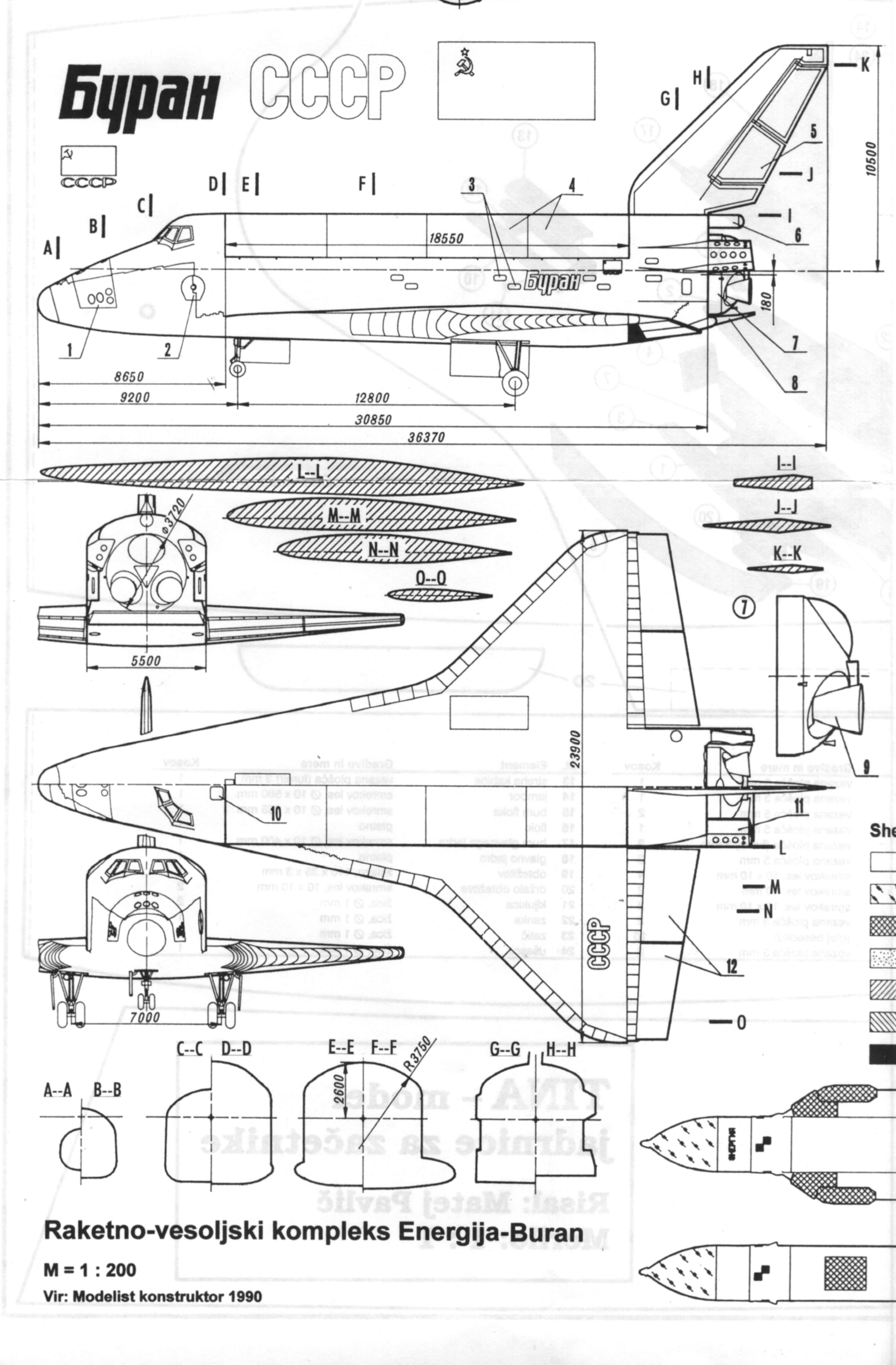 Scale drawings of Russian cosmoplan complex Energia/Buran